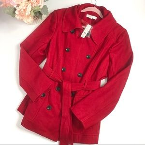 New York &Co Red Belted Peacoat